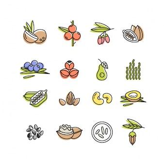 Superfoods lijn pictogrammen instellen