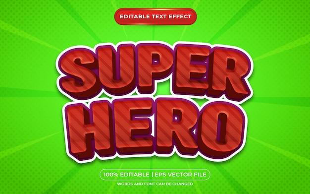 Superheld 3d bewerkbare teksteffect cartoonstijl