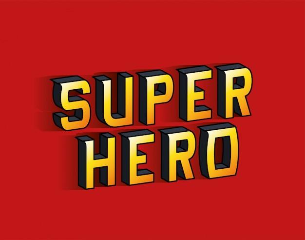 Superheld belettering op rood achtergrondontwerp, typografie retro en komisch thema