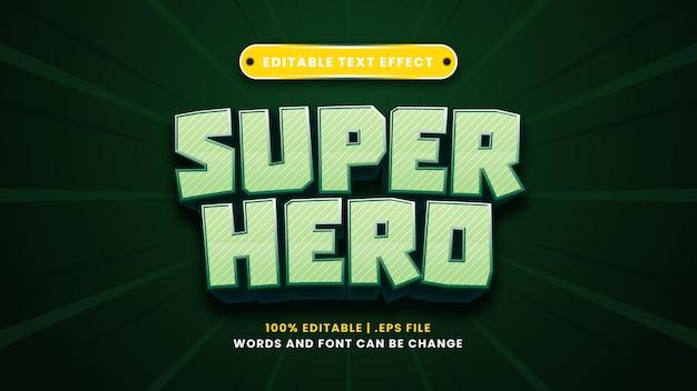 Superheld bewerkbaar teksteffect in moderne 3d-stijl