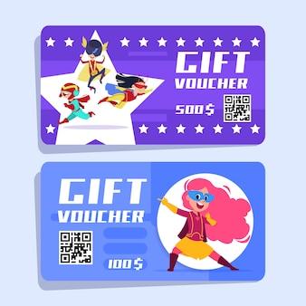 Superheld cadeaubon voor kinderen. superhelden kinderen vector banners