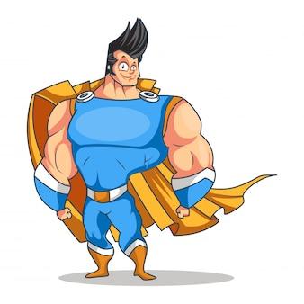 Superheld cartoon op wit