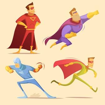 Superheld cartoon pictogrammen instellen