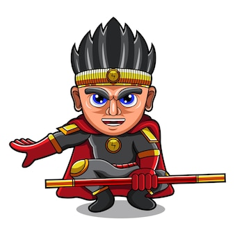 Superheld chibi mascotte logo ontwerp