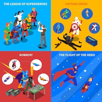 Superheld concept isometrische elementen instellen