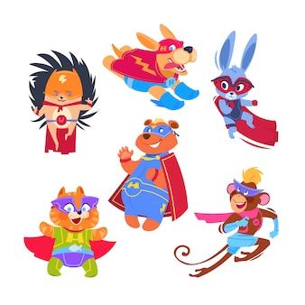 Superheld dieren kinderen. grappige dieren die superheldenkostuums dragen. cosplay vector tekens instellen