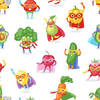 Superheld fruitig fruitig stripfiguur van superheld expressie groenten met grappige banaan wortel of peper in masker illustratie vruchtbare vegetarische achtergrond instellen