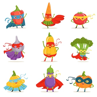 Superheld groenten in maskers en capes set van schattige kinderachtig gehumaniseerd stripfiguren