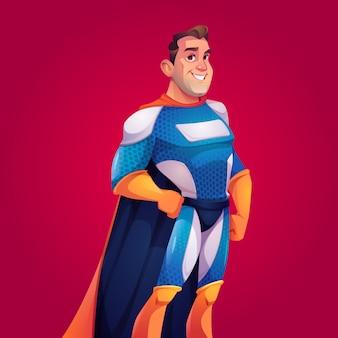 Superheld in blauw kostuum met cape