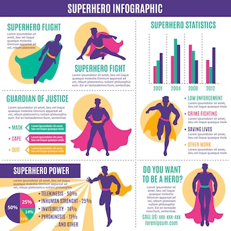 Superheld infographics lay-out