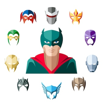 Superheld karakter in vlakke stijl