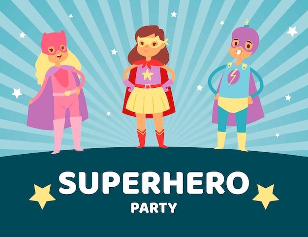 Superheld kinderen in kostuums partij illustratie