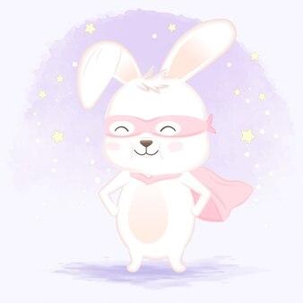 Superheld konijn hand getekend cartoon afbeelding