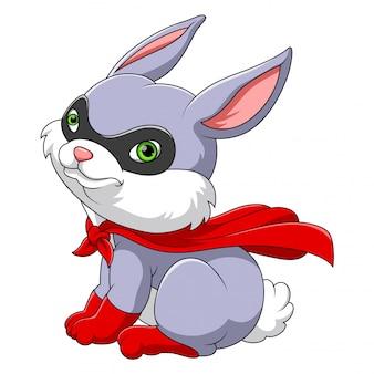 Superheld konijn mascotte