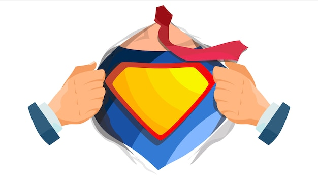 Superheld logo. geel, rood schild.