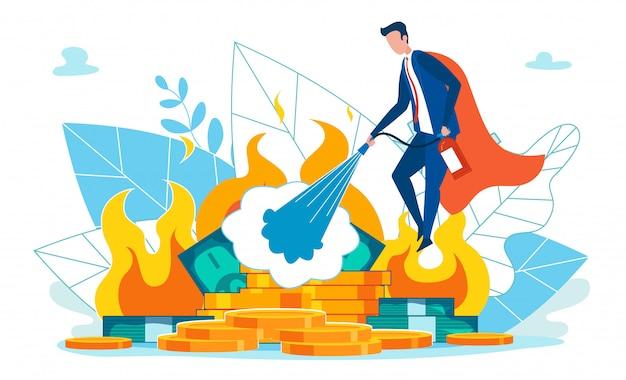 Superheld man in formeel pak houden brandblusser.