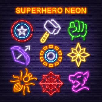 Superheld neon pictogrammen