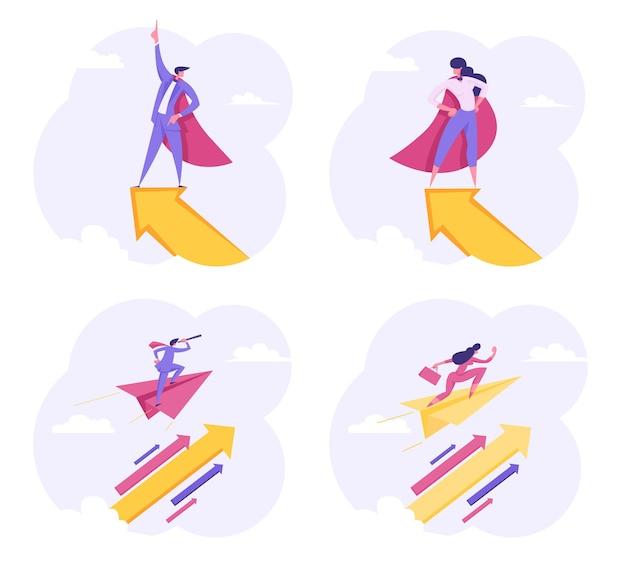 Superheld ondernemers tekens vliegen met pijl omhoog in de lucht
