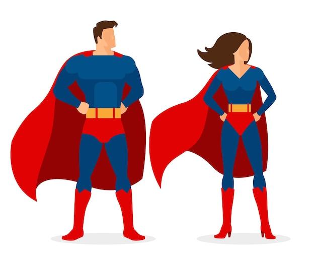 Superheld paar. superman- en supervrouw-personages in vlakke stijl