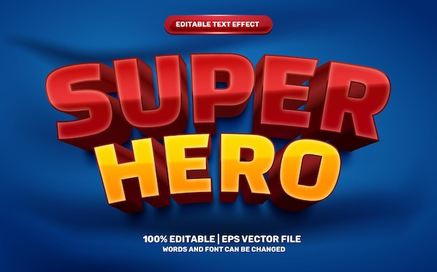Superheld rood geel modern cartoon stripheld 3d bewerkbaar teksteffect