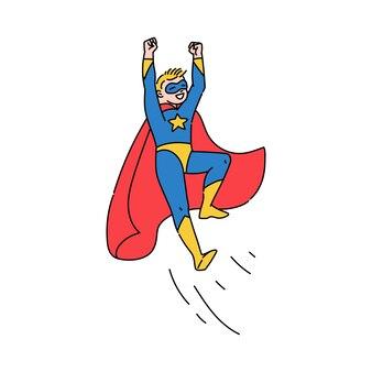Superheld tienerjongen vliegen, schets cartoon afbeelding geïsoleerd