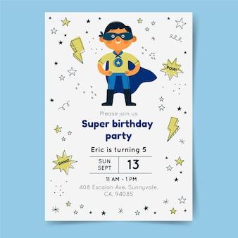 Superheld verjaardag uitnodiging sjabloon