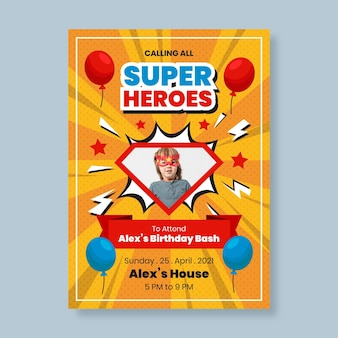 Superheld verjaardag uitnodiging sjabloonontwerp