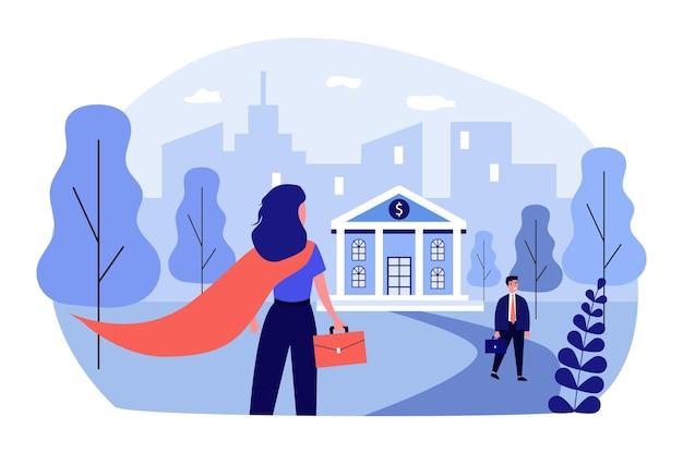 Superheld vrouw gaat in bank. werk, krediet, financiën platte vectorillustratie