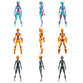 Superheld vrouw illustraties op een witte achtergrond