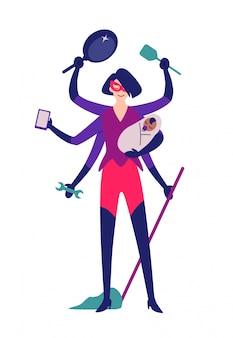 Superheld vrouw klaar voor het reinigen.