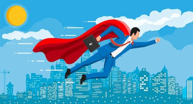 Superheld zakenman vliegen over stadsgezicht in de lucht. zakenman in pak en rode mantel. doelstelling. slim doel. doel bedrijfsconcept. prestatie en succes. vectorillustratie in vlakke stijl