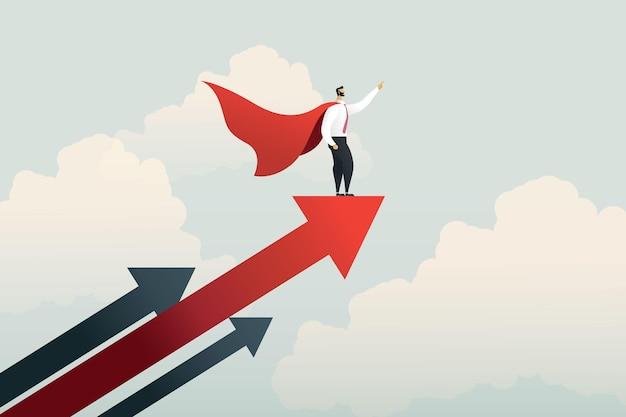 Superheld zakenman wijzende vinger op stijgende pijl grafiek