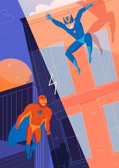 Superhelden vechten tegen schurken, stripfiguren met vliegende superman en springsnelheidsheld
