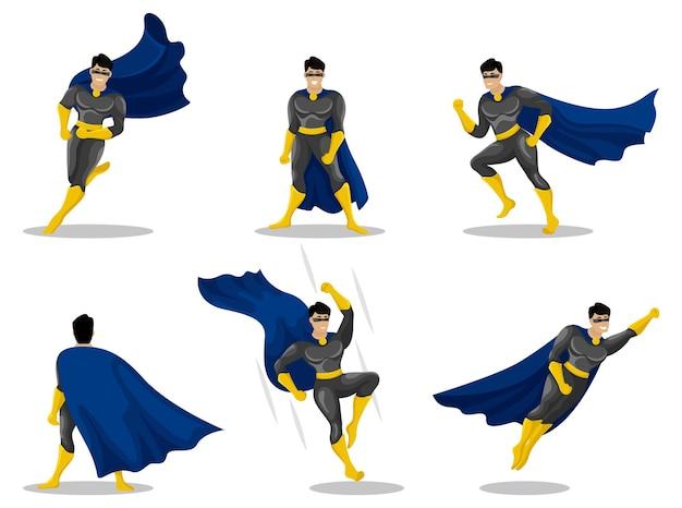 Superheldenkarakters met mensen die kleurrijke kostuums dragen in verschillende poses en acties.
