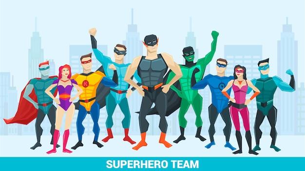 Superheldensamenstelling met een groep superhelden van verschillende seksen tegen de achtergrond van de stad