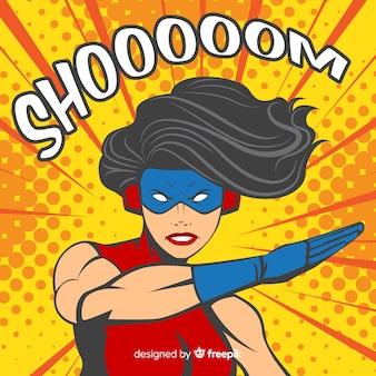 Superheldinekarakter met pop-artstijl