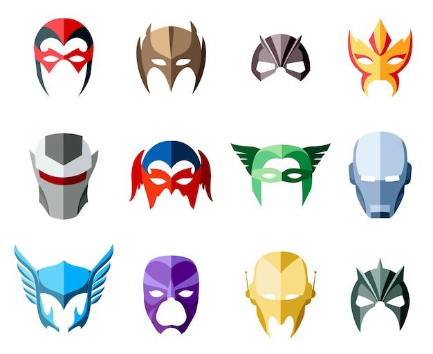 Superheldmaskers voor gezicht in vlakke stijl.