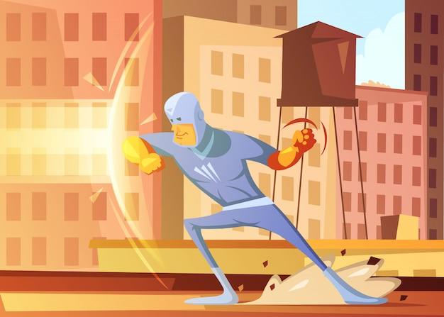 Superhero die de stad tegen kwade beeldverhaalachtergrond beschermen met flatgebouwen vectorillustratie