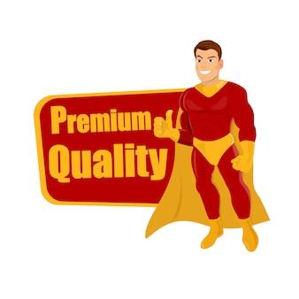 Superhero die duimen opgeeft en premiumkwaliteit van woorden.
