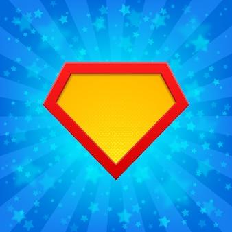 Superhero-embleem bij heldere blauwe stralenachtergrond met sterren. halftone punten, schaduwen.