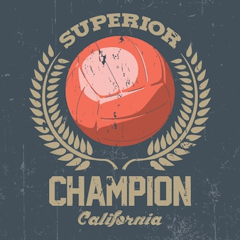 Superieure california champion-poster met één grote bal in de middelste afbeelding