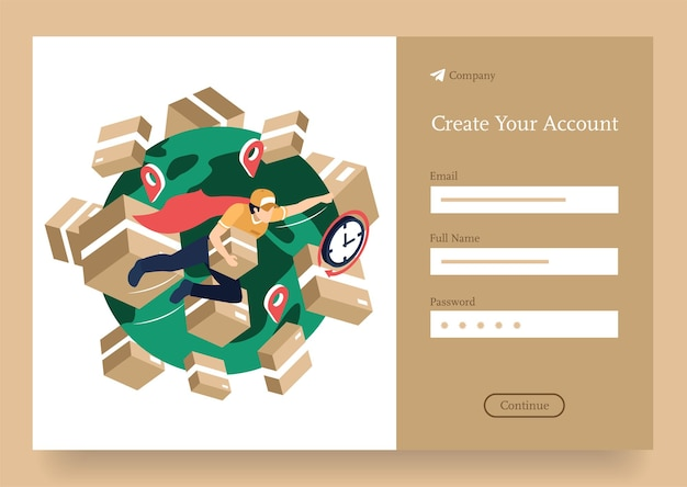 Superman online delivery service isometrisch concept