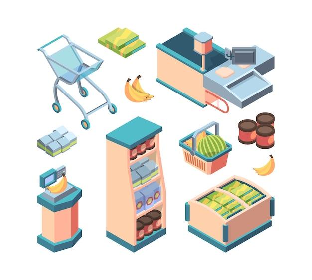 Supermarkt apparatuur isometrische set. boodschappenwagentje koffieblikken kassa met computer lopende band zelfbedieningspunt bananen op weegschaal vriezer voedselkast.