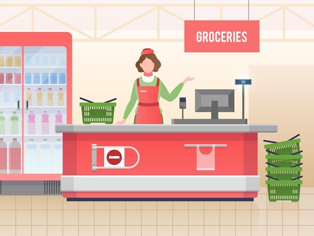Supermarkt-assistent. gelukkig de verkoopvoedsel van de kassiervrouw in kruidenierswinkelhypermarkt. detailhandel, vector afbeelding supermarkt winkelen