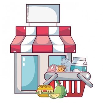 Supermarkt boodschappen cartoon