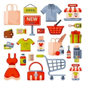 Supermarkt boodschappen winkelen vlakke stijl cartoon pictogrammen instellen met klanten karren manden voedsel en commerce producten geïsoleerd.