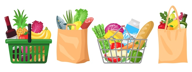 Supermarkt boodschappentassen illustratie