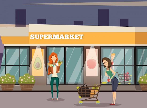 Supermarkt gebouw achtergrond