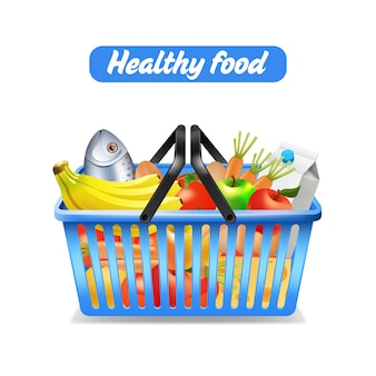 Supermarkt-het winkelen mandhoogtepunt van gezond die voedsel op witte achtergrond wordt geïsoleerd