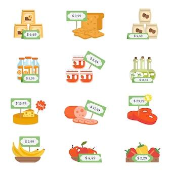 Supermarkt icons set